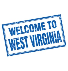 West Virginia blue square grunge welcome isolated vector