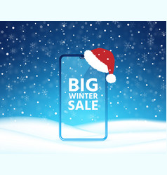 winter sale smartphone phone screen mockup vector image