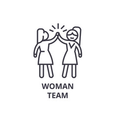 woman team thin line icon sign symbol vector image