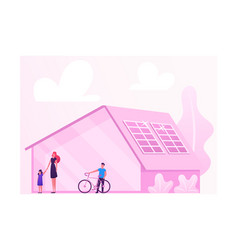 Woman with kids stand near house with solar panels vector