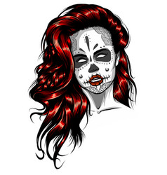 woman with sugar skull face paint vector image