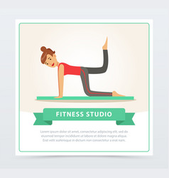 Young woman doing fitness exercises on a mat vector