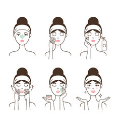 Young woman takes care of her skin with cosmetics vector