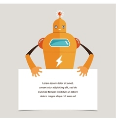 Cute robot character with a banner vector image