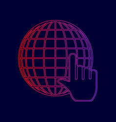 earth globe with cursor line icon with vector image
