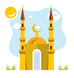 mosque flat style colorful cartoon vector image vector image