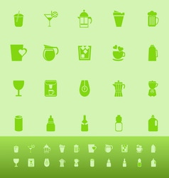 Variety drink color icons on green background vector image