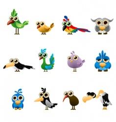 cartoon bird set vector image vector image