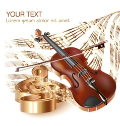 Classical violin on musical notes background vector image vector image