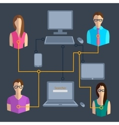 Computer technology communication people vector image vector image