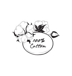 cotton icon natural material sign with flower vector image vector image