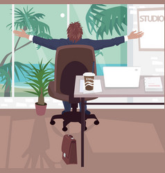 happy employee in office near tropical beach vector image vector image