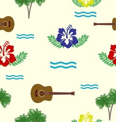 Hibiscus guitars and palm trees pattern vector image