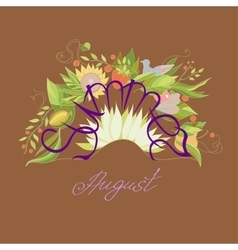 lettering Summer August with leaves flowers vector image
