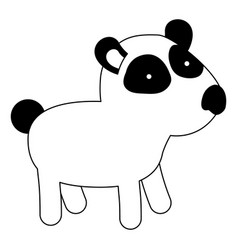 panda cartoon black silhouette in white background vector image