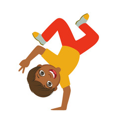 boy standing upside down on one hand dancing vector image vector image