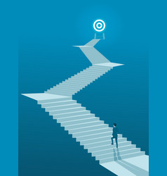 businessman walking up stairs to goal vector image