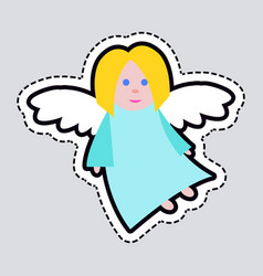 christmas angel blue clothes white long wings vector image
