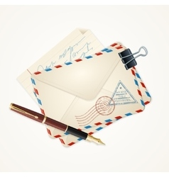 Letter Mail and Pen Vintage vector image vector image