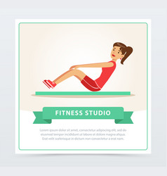 young woman working out on exercise mat fitness vector image vector image