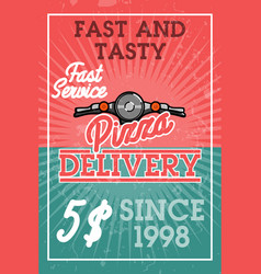 color vintage pizza delivery banner vector image vector image
