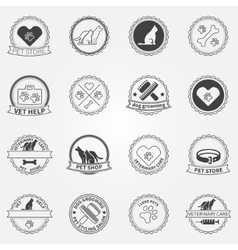 Dog ans cats black logos and badges vector image