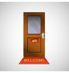 Front door is open around clock with a sign vector image