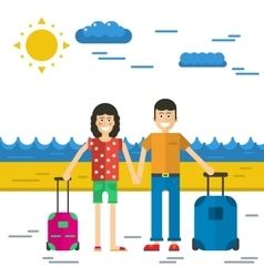 man and woman go to vacation vector image