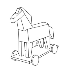 Trojan horse icon in outline style isolated on vector