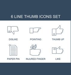 6 thumb icons vector image