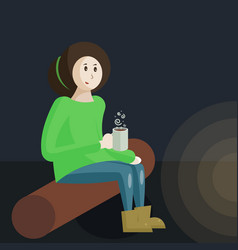 a girl scout sitting beside a vector image
