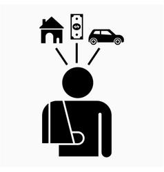 Accident compensation icon vector