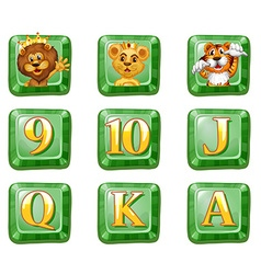 Animals and letters on green buttons vector