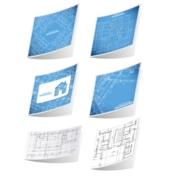 Architecture background sticker set vector