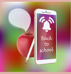 Back to school smartphone red apple pencil vector