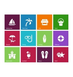 Beach icons on color background vector image