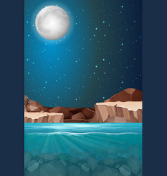 Beautiful night water scene vector