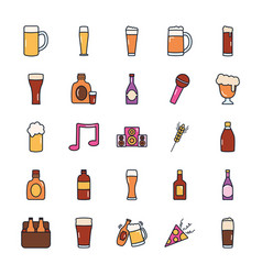 Beer bottles and liquor bottles icon set line vector