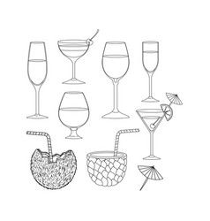 best drinks set icons vector image