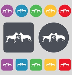 Betting on dog fighting icon sign A set of 12 vector