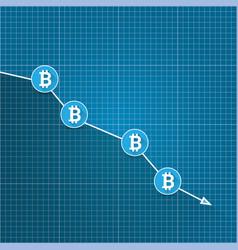 Bitcoin market crash graph on blueprint vector