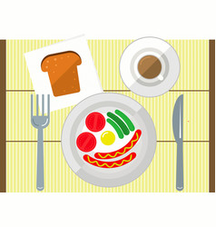 Breakfast on background coffee egg bread vector