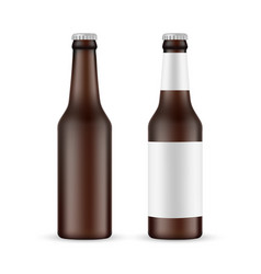 Brown glass beer bottle with label and blank vector