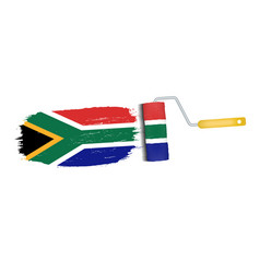 brush stroke with south africa national flag vector image