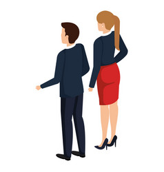 business couple back avatars characters vector image