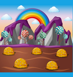 candy land with chocolate river and lolipop trees vector image
