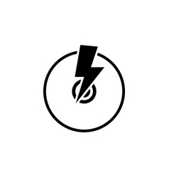 cd writer disc with lightning flat icon vector image