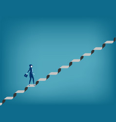 Challenge businesswoman walking up staircase vector