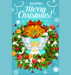Christmas wreath with bell and bow greeting card vector