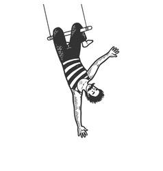 Circus acrobat on trapeze sketch engraving vector
